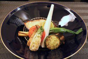 銀ダラ西京焼き、鴨ロース、春野菜